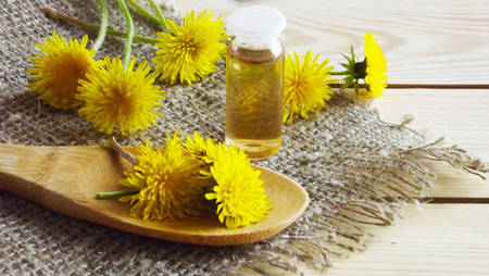 Therapeutic tinctures of dandelion on a wooden background. Фото со стока