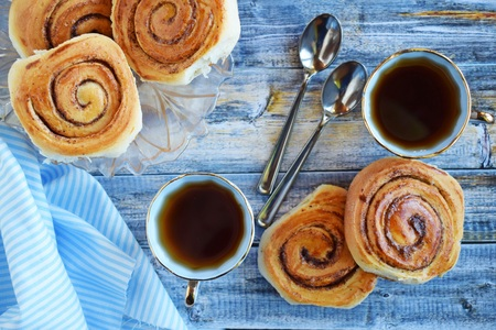 Delicious cinnamon rolls.Dessert for tea.