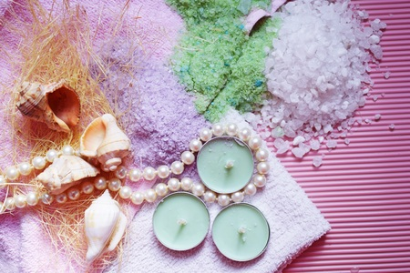 Colorful bath salt on pink background. Healthy skin care. Reklamní fotografie