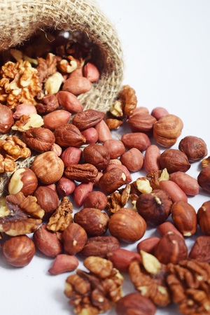 Mixture of different nuts.Healthy food. Reklamní fotografie
