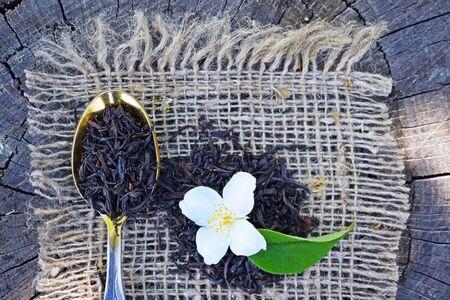 Jasmine flowers and burlap. Фото со стока
