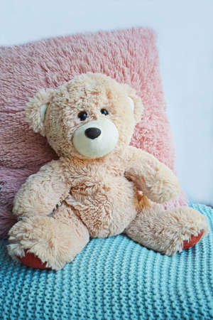 A soft, fluffy bear sits on a knitted blanket.Children's toy. Stockfoto