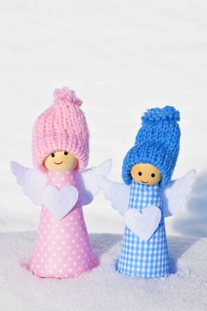 Cute Christmas angels.Merry winter holidays.Christmas card.