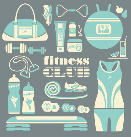 pilates ball: Fitness icons set Illustration