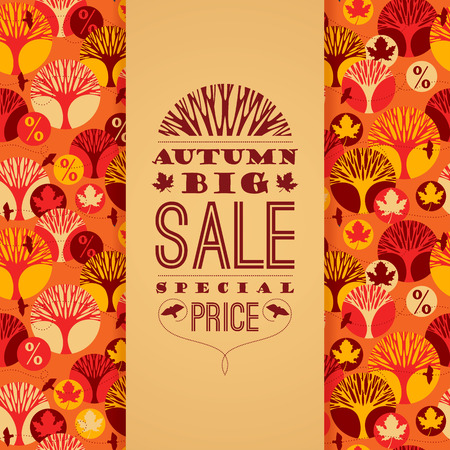 sales occupation: Autumn vector pattern with Sale Typography Illustration