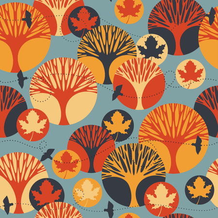 time fly: Autumn vector seamless pattern with trees, maple leaves and birds. Vintage color background.