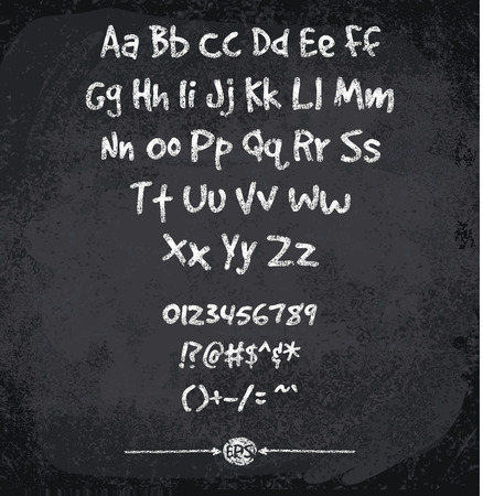 illustration of chalked alphabet. Imitation texture of chalk Çizim