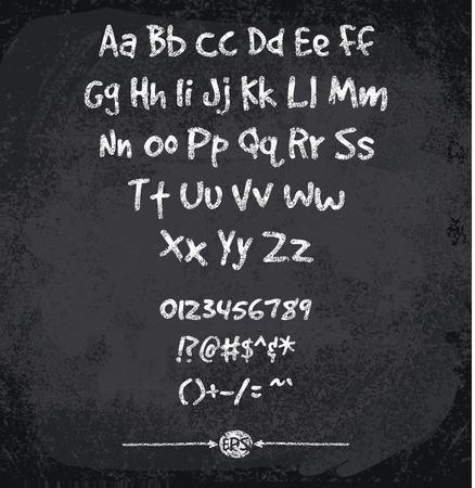 illustration of chalked alphabet. Imitation texture of chalk Vettoriali