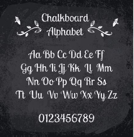classroom chalkboard: illustration of chalked alphabet. Imitation texture of chalk Illustration