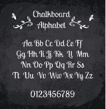 illustration of chalked alphabet. Imitation texture of chalk