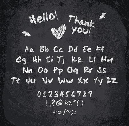punctuation: illustration of chalked alphabet. Imitation texture of chalk Illustration