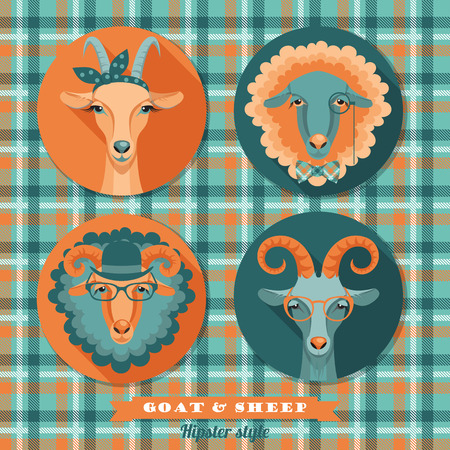Vector illustration of goat and sheep, symbol of 2015. Hipster style. Element for New Year Vector