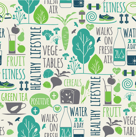 healthy lifestyle: Healthy lifestyle seamless background.Elements for design