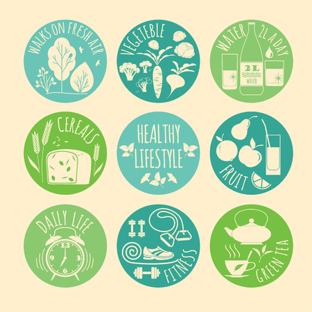 eat healthy: Healthy lifestyle Icons set. Vector illustration.