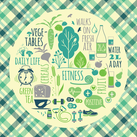 Healthy lifestyle vector illustration on plaid background.