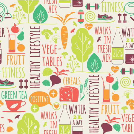 Healthy lifestyle seamless background.Elements for design