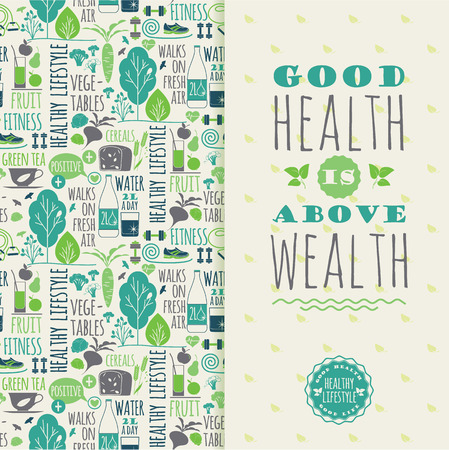 Healthy lifestyle vector illustration with typography. Design elements for a poster, flyer, graphic module. Ilustracja