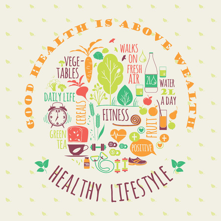 Healthy lifestyle vector illustration with typography. Design elements for a poster, flyer, graphic module.  イラスト・ベクター素材