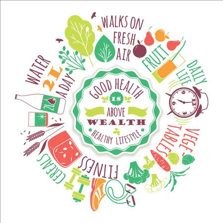 eating food: Sano stile di vita illustrazione vettoriale con la tipografia. Elementi di design per un poster, flyer, modulo grafico.