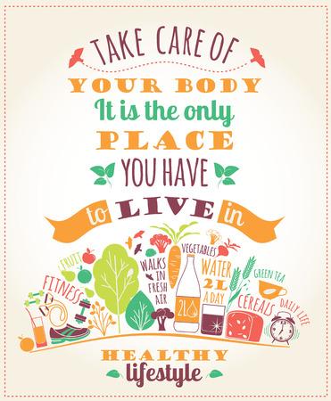 comida saludable: Ilustraci�n sana estilo de vida del vector con la tipograf�a. Elementos de dise�o de un cartel, folleto, m�dulo gr�fico.