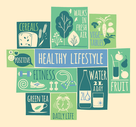 Healthy lifestyle Icons set. Vector illustration.