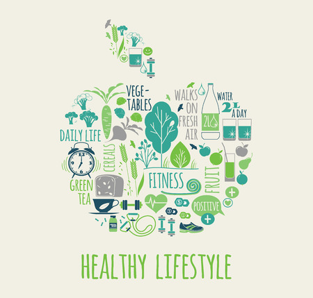 Healthy lifestyle vector illustration in the shape of apple Çizim