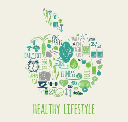 sana?a: Ilustración estilo de vida saludable vector en la forma de la manzana