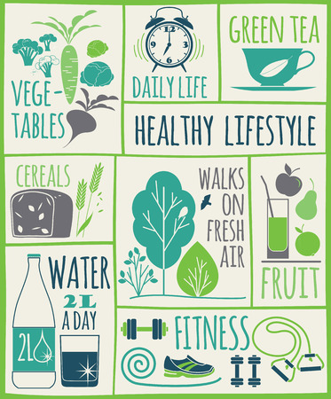 get up: Healthy lifestyle Icons set. Vector illustration.