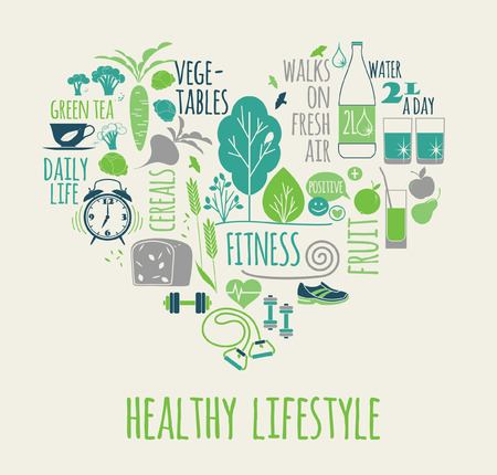 Healthy lifestyle vector illustration in the shape of heart on plaid background. Stock Illustratie