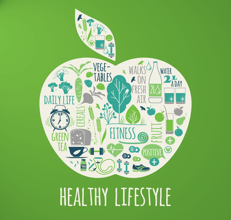 positive positivity: Healthy lifestyle vector illustration in the shape of apple on plaid background.
