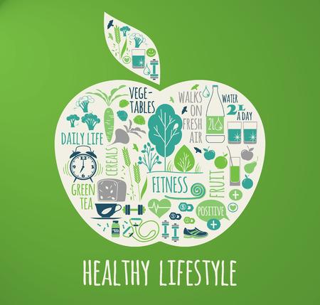 Ilustración vectorial de estilo de vida saludable en la forma de la manzana en el fondo a cuadros.