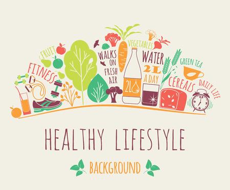 salute: Sano stile di vita illustrazione vettoriale. Elementi di design.