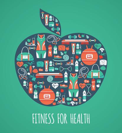 pilates ball: Fitness Icons background in apple shape. Icons set.Vector illustration. Illustration