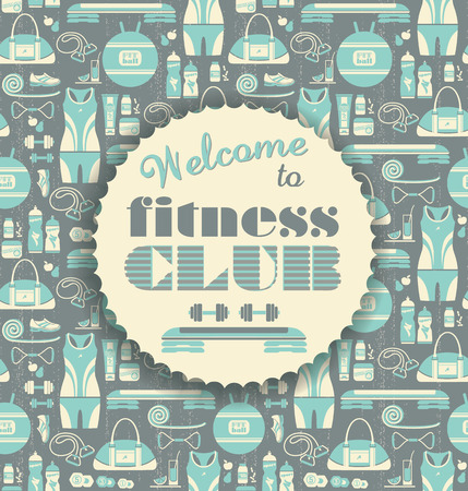 Fitness Icons background with typography. Vector illustration. Seamless pattern with icons of fitness. Vector
