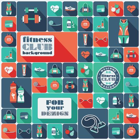 pilates ball: Fitness Icons background. Vector illustration. Flat design.