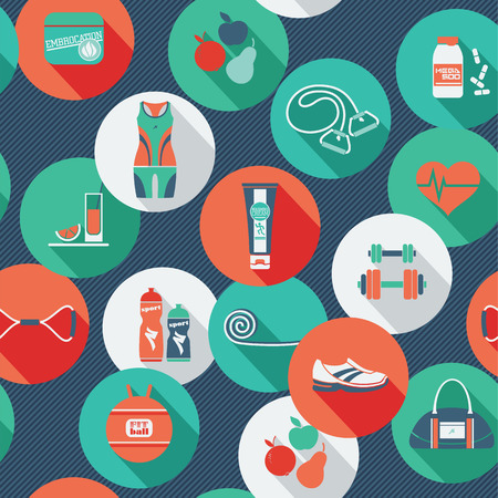 body shape: Fitness Icons background. Vector illustration. Seamless pattern with icons of fitness.