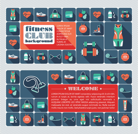 Fitness Icons background. Vector illustration. Flat design. Vector