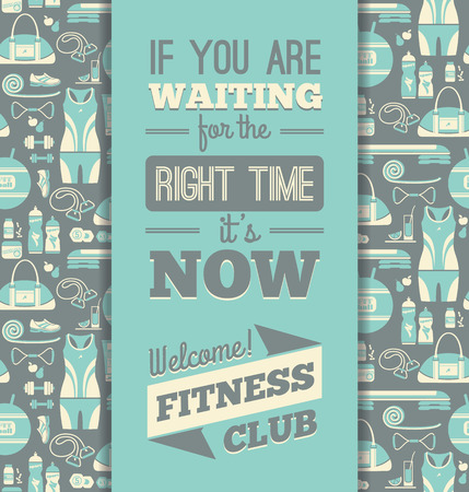 fitness center: Fitness Icons background with typography. Vector illustration. Seamless pattern with icons of fitness. Illustration