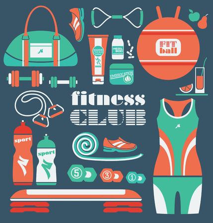 Fitness Icons set. Vector illustration. Vector