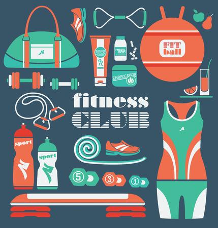 step fitness: Fitness Icons set. Vector illustration. Illustration