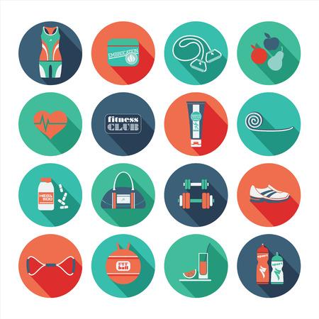 pilates ball: Fitness Icons set. Vector illustration. Flat design Illustration