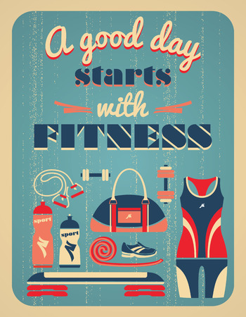 fitness center: Fitness vintage poster. Vector illustration. Illustration