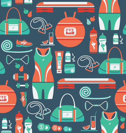step fitness: Fitness Icons background. Vector illustration. Seamless pattern with icons of fitness.