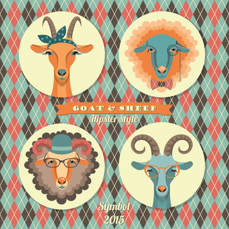 Vector illustration of goat and sheep, symbol of 2015. Hipster style. Element for New Years design. Image of 2015 year of the goat. Vector