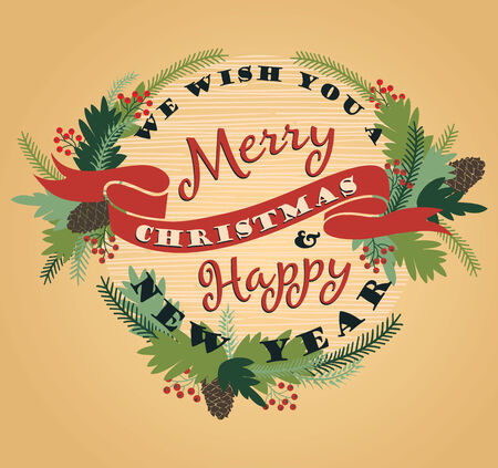 Merry Christmas background with Typography. Vector illustration. Design elements for posters, flyers, graphics module. Vector