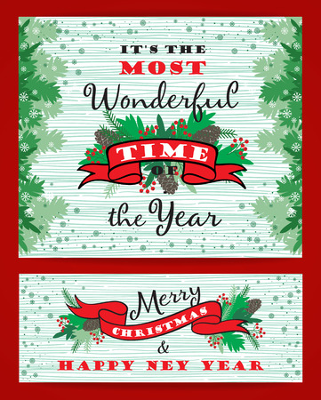 Merry Chrismas background with Typography. Vector illustration. Design elements for posters, flyers, graphics module Vettoriali