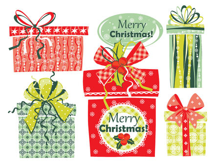 softly: Vector illustration of Merry Christmas gifts. Gift Boxes. Design elements for posters, flyers, graphics module, paper. Illustration