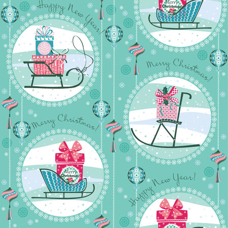 Vector illustration of Merry Christmas gifts. Design elements for posters, flyers, graphics module, paper, wallpaper. Seamless pattern. Vector