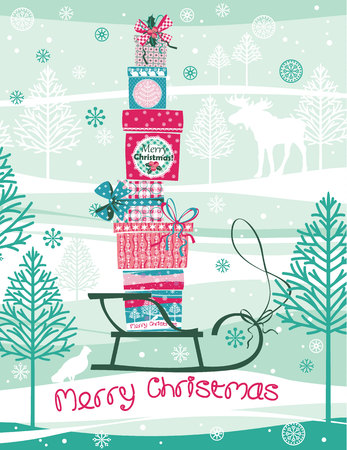 Christmas and New Year card. Design elements for posters, flyers, graphics module, paper.Vector illustration of Merry Christmas gift boxes. Vector
