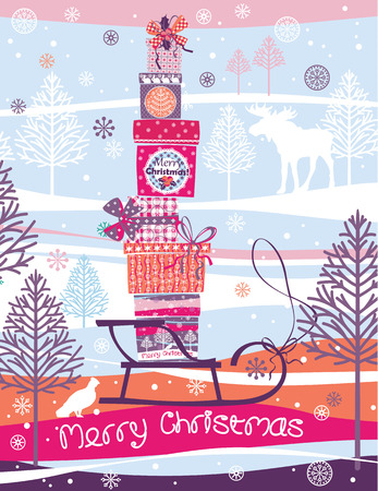 moño rosa: Navidad y del Año Nuevo. Elementos de diseño de carteles, volantes, módulos gráficos, ilustración paper.Vector de cajas de regalo Feliz Navidad. Vectores